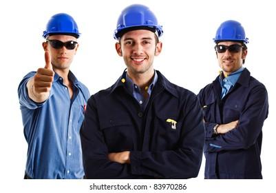 Three engineers at work