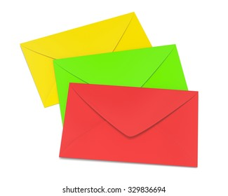 three envelopes on white background