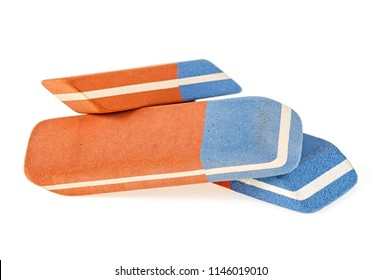 Three erasers isolated on a white background