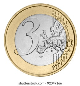 Three euro coin on white