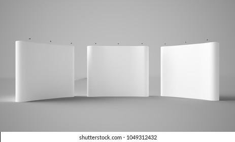 three exhibition displays 3d rendering