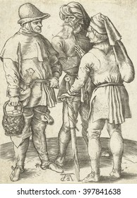 Three Farmers in Conversation, by Albrecht Durer, German print, engraving. 1567 copy of the Durer original by Abraham de Bruyn
