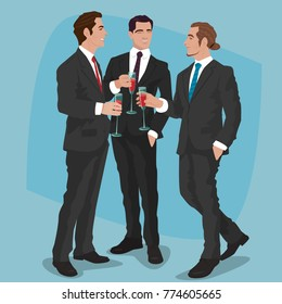 Three fashionable men in black business suits drink cocktails or red wine. Mens party concept. Simplified realistic comic art style. Raster version of illustration