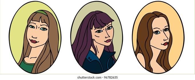 three female portraits