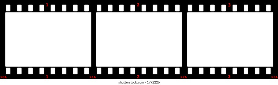 Three Film Frames Frame Numbers Red Stock Illustration 1792226 ...