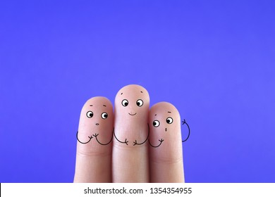 Three fingers decorated as three friends. One of them having a scar on face- cleft lip repair.