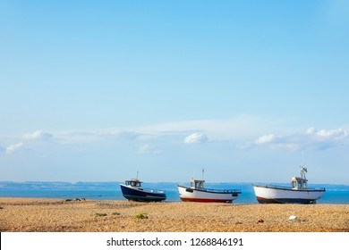 Three Fishing Boats on the Beach at the Dungeness Headland, Kent, England
