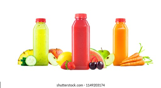 Three Flavors of Cold Freshly Squeezed Fruit and Vegetable Juice in Generic Bottles Isolated on White Background