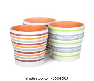 Three flower pots. Isolated on white background