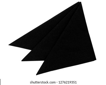 Three folded black paper serviettes, napkins isolated on white. For funeral, wake etc.