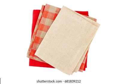 Three folded colorful napkins on white