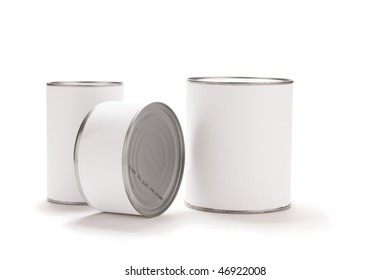 Three food cans with blank white labels.