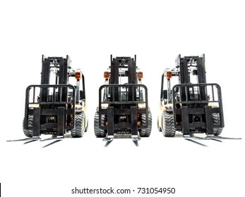 Three forklift truck parked in a row shot on white background