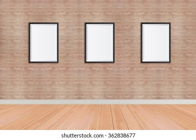 Three Frame blank on the wall in room.