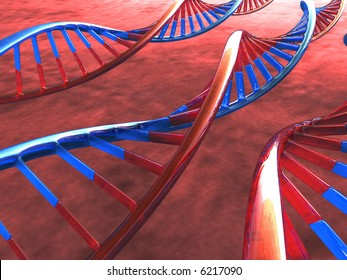 Three Frame of DNA over the background.