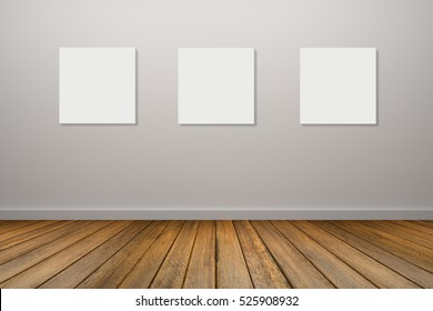 three frame of white poster hanging in empty room.space for your text and picture.product display template.Business presentation.white wall and wooden floor.clipping path include.