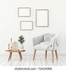 Three frames composition on white wall in christmas livingroom interior. 3D rendering.