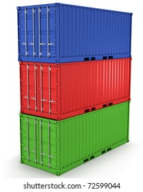 Three freight containers stacked in a tower isolated on white background