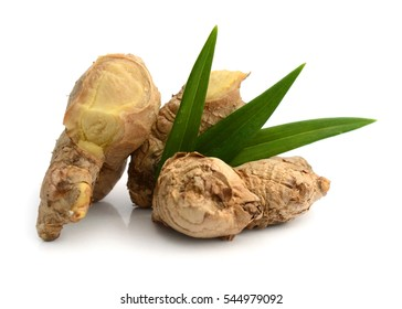 Three fresh ginger roots isolated on white.