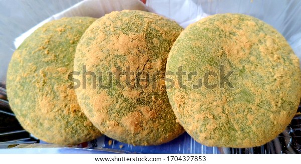 Three fresh green mochi cakes in Nara, Japan