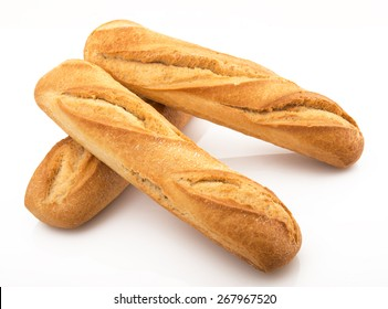three fresh italian bread on white background