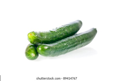 Three fresh Japanese cucumbers