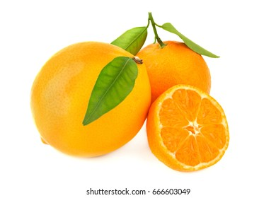 Three fresh organic juicy oranges with leaves one of them cut isolated on white