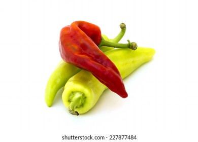 Three fresh peppers isolated background