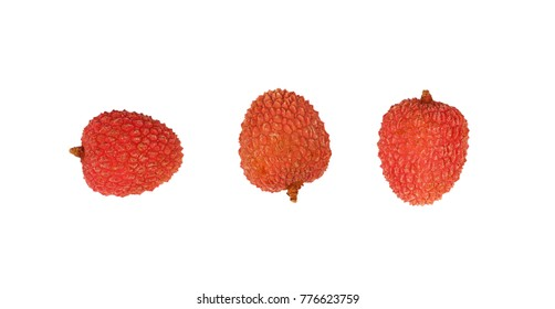 Three fresh red ripe lychee (Litchi chinensis) tropical fruits isolated on white background, detail close up in different perspectives, elevated top view, directly above