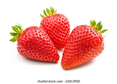 Three fresh strawberries isolated on white background.