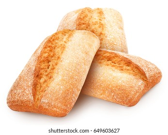 Three freshly baked loaves of traditional italian bread ciabatta isolated on white background.