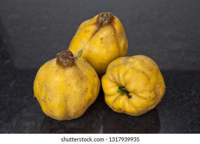 Three freshly harvested quinces on a white background