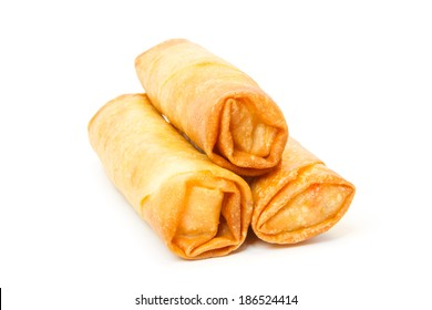 Three fried spring rolls against white background
