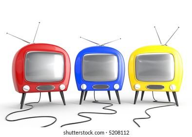 Three friend - concept. Stylish retro TV