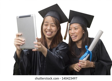 Three friends celebrating graduation