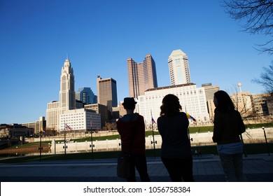 Three Friends Downtown Columbus Ohio Skyline