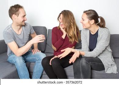 Three friends having a good laugh