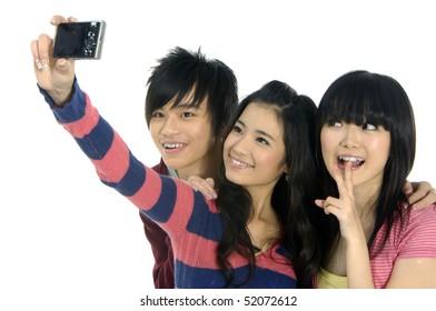 Three friends taking a photo