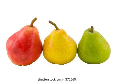 the three full pears isolated with clipping path