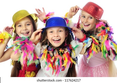 Three funny carnival kids
