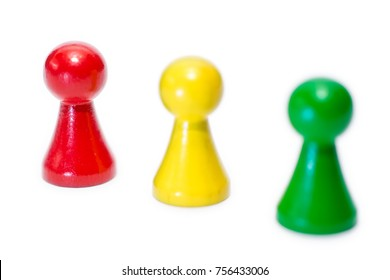 Three game figures on white background with sharpness gradient