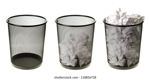 Three garbage cans going from empty to full, isolated on a white background.