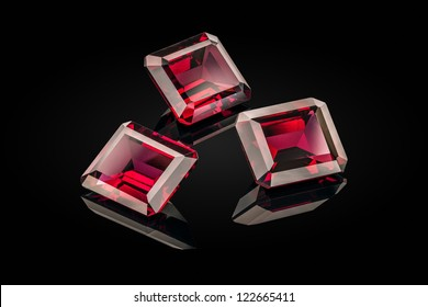 Three garnet on the black