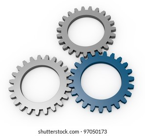 three gears with tone in different color (3d render)