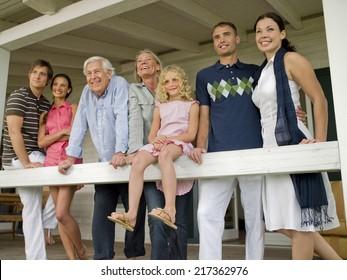 Three generation family on veranda