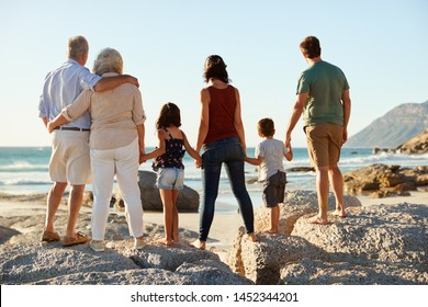 Three generation white family on a beach stand holding hands, admiring view, full length, back view