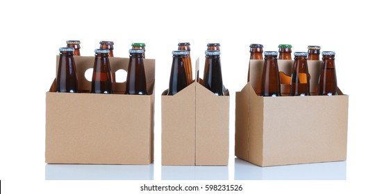 Three generic brown carriers of six pack of glass bottled beer isolated on white with reflection