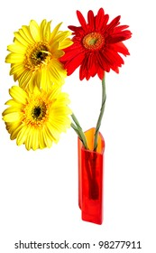 Three gerbera in the vase isolated over white