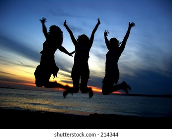 Three Girl friends  celebrating youth