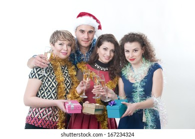 three girls and the guy on a New Year's holiday